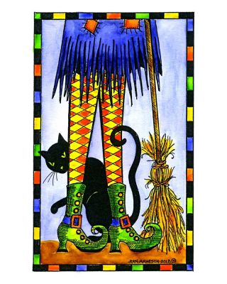 Witch's Legs, Cat and Broom in Checkered Rectangle - NN10481